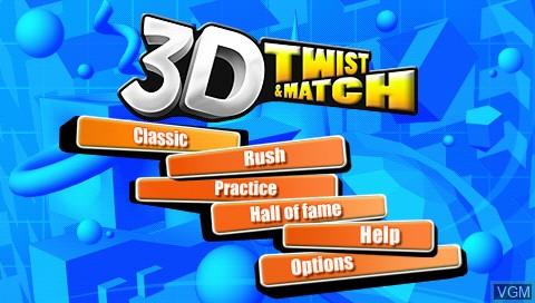 Image de l'ecran titre du jeu 3D Twist & Match sur Sony PSP
