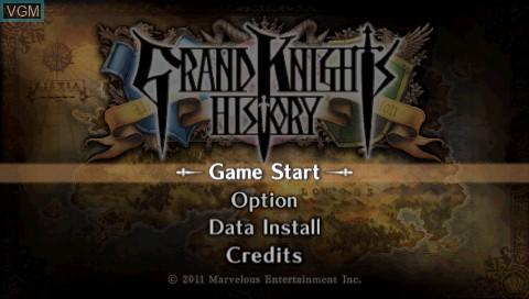 Image de l'ecran titre du jeu Grand Knights History sur Sony PSP