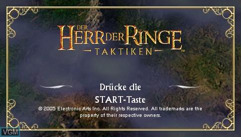 Image de l'ecran titre du jeu Herr der Ringe, Der - Taktiken sur Sony PSP