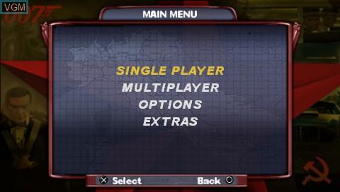 Image du menu du jeu 007 - From Russia with Love sur Sony PSP