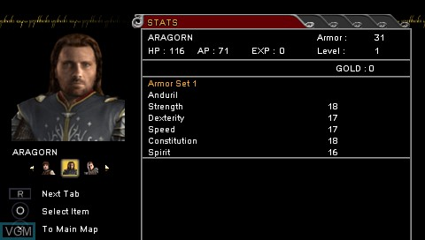 Image du menu du jeu Lord of the Rings, The - Tactics sur Sony PSP
