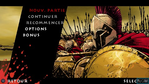 Image du menu du jeu 300 - March to Glory sur Sony PSP