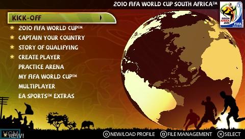 Image du menu du jeu 2010 FIFA World Cup - South Africa sur Sony PSP
