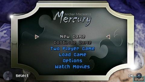 Image du menu du jeu 2 Games in 1! - Archer Maclean's Mercury & Mercury Meltdown sur Sony PSP
