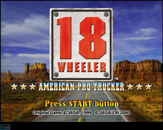 Image de l'ecran titre du jeu 18 Wheeler - American Pro Trucker sur Sony Playstation 2