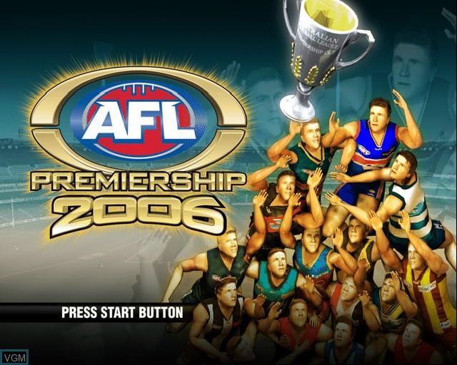 Image de l'ecran titre du jeu AFL Premiership 2006 sur Sony Playstation 2