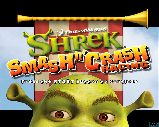 Image de l'ecran titre du jeu Shrek Smash n' Crash Racing sur Sony Playstation 2