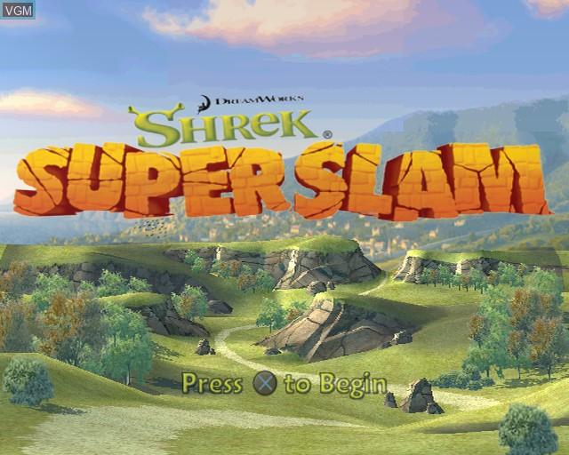Image de l'ecran titre du jeu Shrek SuperSlam sur Sony Playstation 2