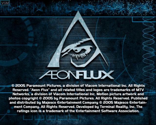 Image de l'ecran titre du jeu Aeon Flux sur Sony Playstation 2