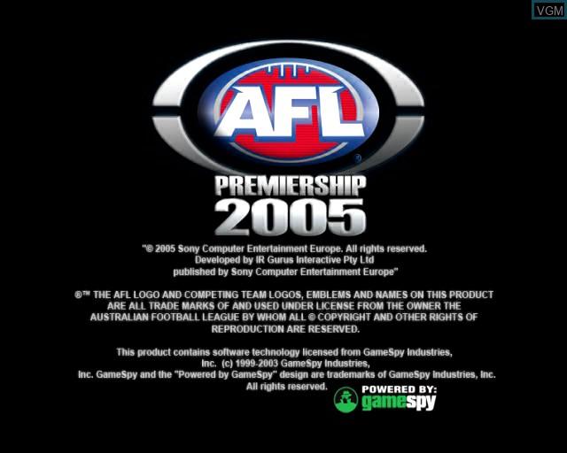 Image de l'ecran titre du jeu AFL Premiership 2005 - The Official Game of the AFL Premiership sur Sony Playstation 2