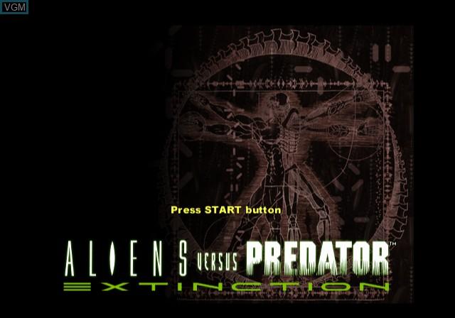 Image de l'ecran titre du jeu Aliens Versus Predator - Extinction sur Sony Playstation 2