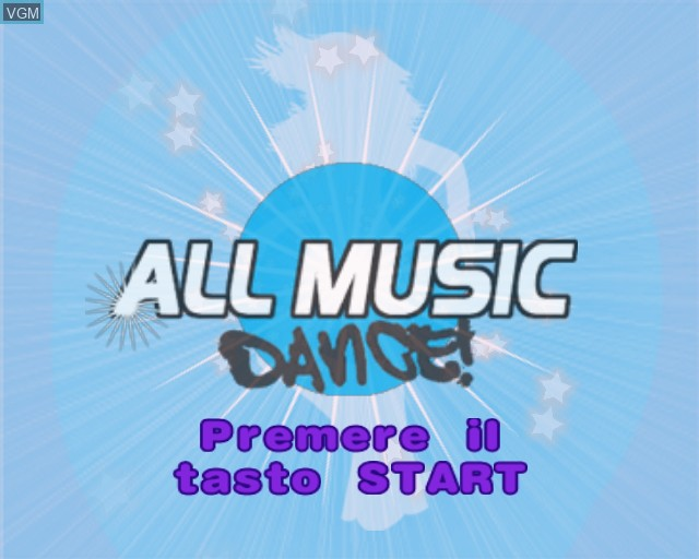 Image de l'ecran titre du jeu All Music Dance sur Sony Playstation 2