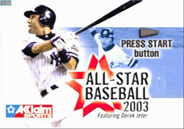 Image de l'ecran titre du jeu All-Star Baseball 2003 sur Sony Playstation 2