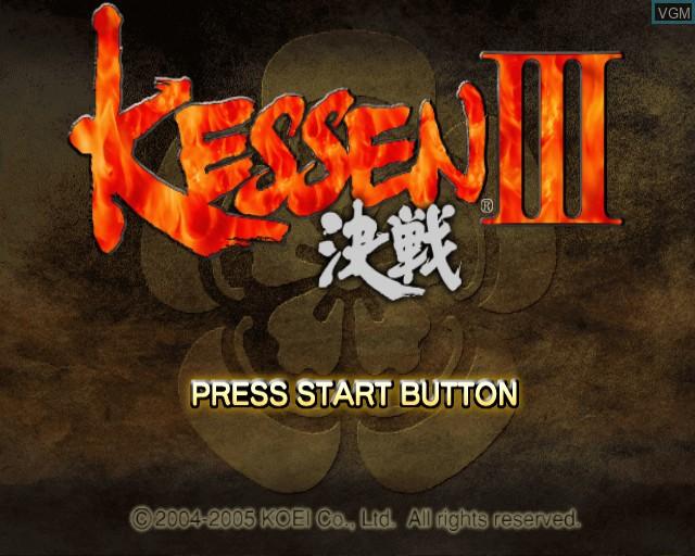 Image de l'ecran titre du jeu Kessen III sur Sony Playstation 2