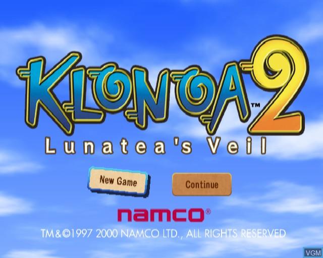 Image de l'ecran titre du jeu Klonoa 2 - Lunatea's Veil sur Sony Playstation 2