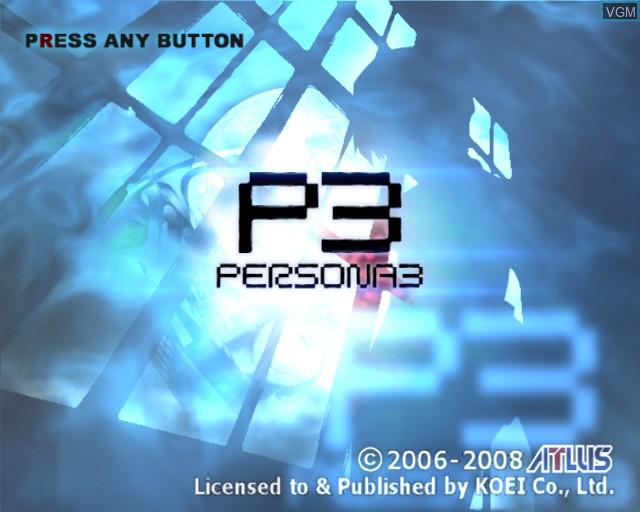 Image de l'ecran titre du jeu Shin Megami Tensei - Persona 3 sur Sony Playstation 2
