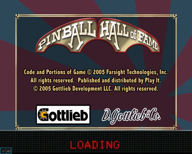 Image de l'ecran titre du jeu Pinball Hall of Fame - The Gottlieb Collection sur Sony Playstation 2