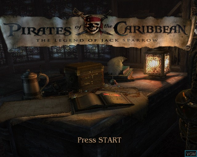 Image de l'ecran titre du jeu Pirates of the Caribbean - The Legend of Jack Sparrow sur Sony Playstation 2