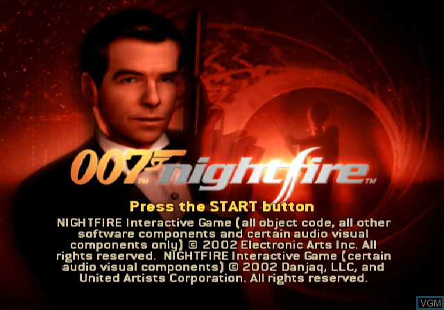Image de l'ecran titre du jeu 007 - NightFire sur Sony Playstation 2