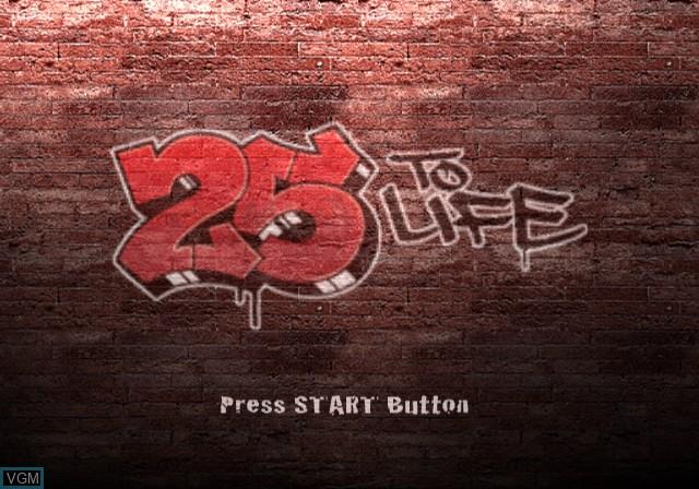 Image de l'ecran titre du jeu 25 to Life sur Sony Playstation 2