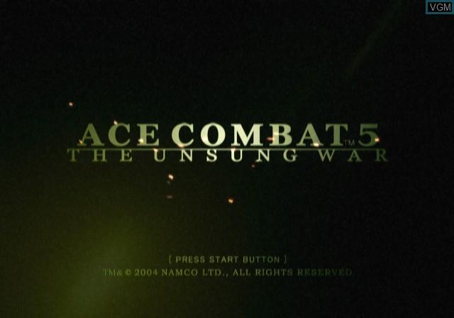 Image de l'ecran titre du jeu Ace Combat 5 - The Unsung War sur Sony Playstation 2