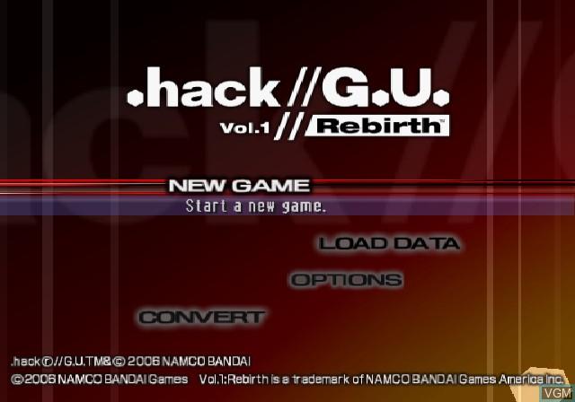 Image de l'ecran titre du jeu .hack//G.U. Vol. 1//Rebirth sur Sony Playstation 2