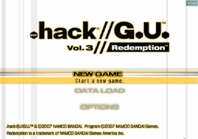 Image de l'ecran titre du jeu .hack//G.U. Vol. 3//Redemption sur Sony Playstation 2
