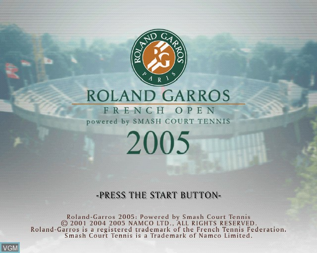 Image de l'ecran titre du jeu Roland Garros 2005 - Powered by Smash Court Tennis sur Sony Playstation 2