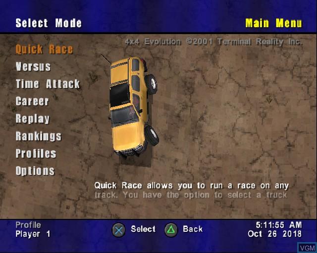 Image du menu du jeu 4X4 Evolution sur Sony Playstation 2