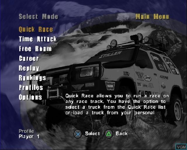 Image du menu du jeu 4X4 EVO 2 sur Sony Playstation 2