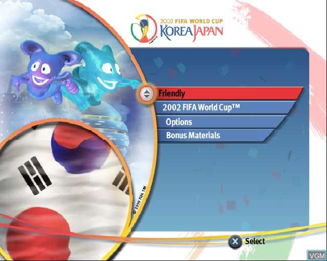 Image du menu du jeu 2002 FIFA World Cup sur Sony Playstation 2