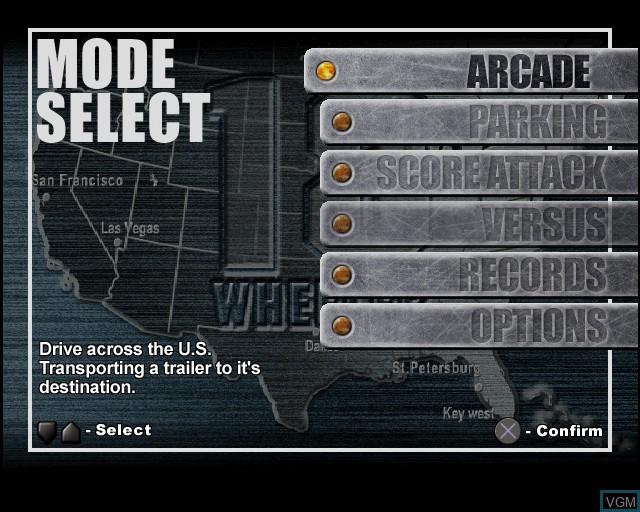 Image du menu du jeu 18 Wheeler - American Pro Trucker sur Sony Playstation 2
