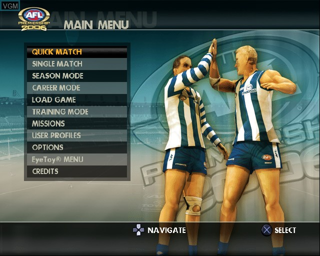Image du menu du jeu AFL Premiership 2006 sur Sony Playstation 2