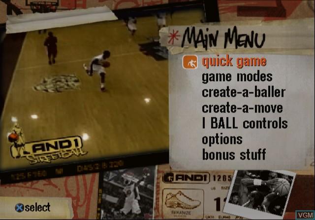 Image du menu du jeu And 1 Streetball sur Sony Playstation 2