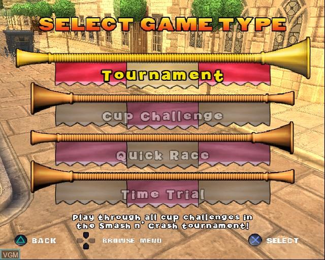 Image du menu du jeu Shrek Smash n' Crash Racing sur Sony Playstation 2