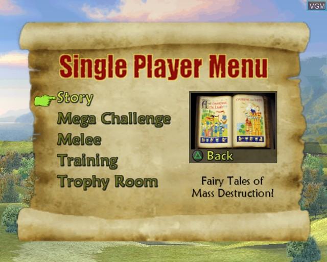 Image du menu du jeu Shrek SuperSlam sur Sony Playstation 2