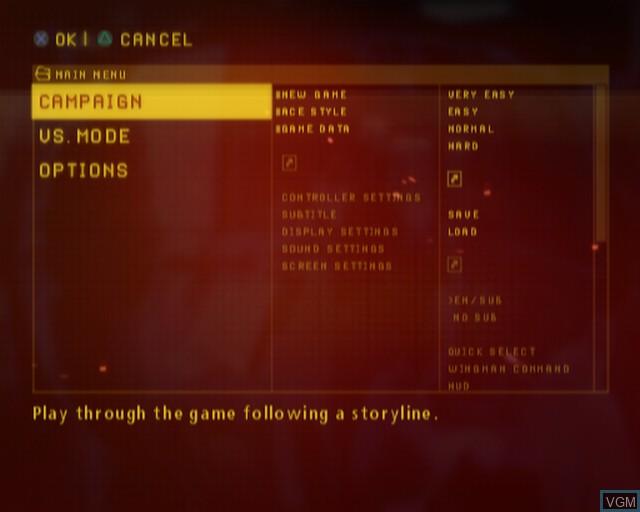 Image du menu du jeu Ace Combat - The Belkan War sur Sony Playstation 2