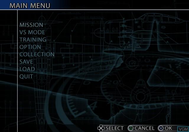 Image du menu du jeu Aces of War sur Sony Playstation 2