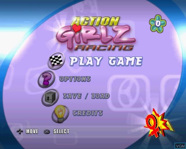 Image du menu du jeu Action Girlz Racing sur Sony Playstation 2