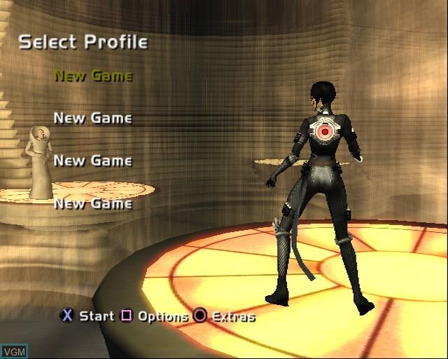 Image du menu du jeu Aeon Flux sur Sony Playstation 2