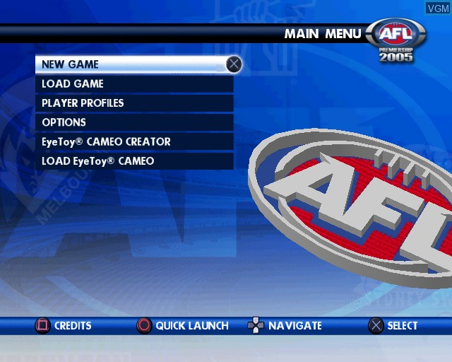 Image du menu du jeu AFL Premiership 2005 - The Official Game of the AFL Premiership sur Sony Playstation 2