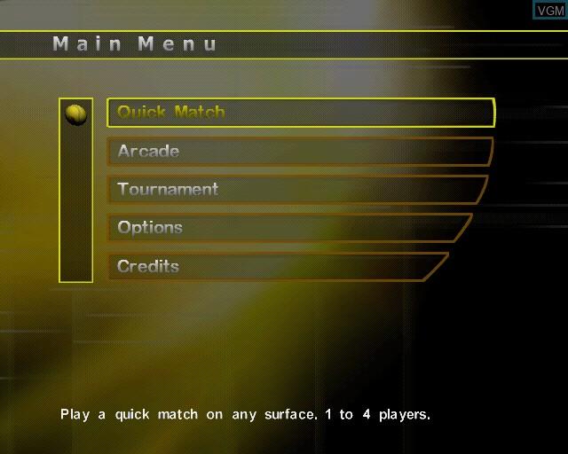 Image du menu du jeu Agassi Tennis Generation sur Sony Playstation 2