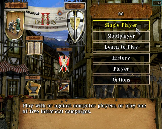 Image du menu du jeu Age of Empires II - The Age of Kings sur Sony Playstation 2