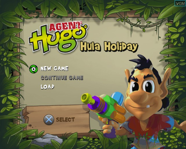 Image du menu du jeu Agent Hugo - Hula Holiday sur Sony Playstation 2