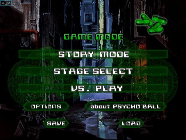 Image du menu du jeu Akira Psycho Ball sur Sony Playstation 2