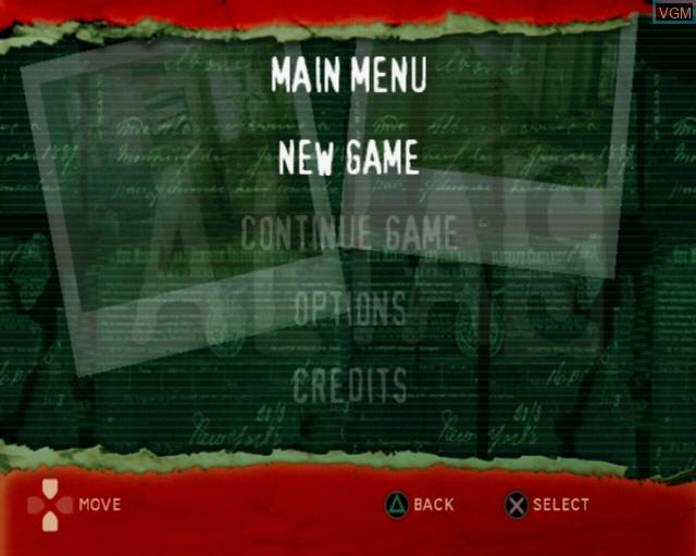 Image du menu du jeu Alias sur Sony Playstation 2