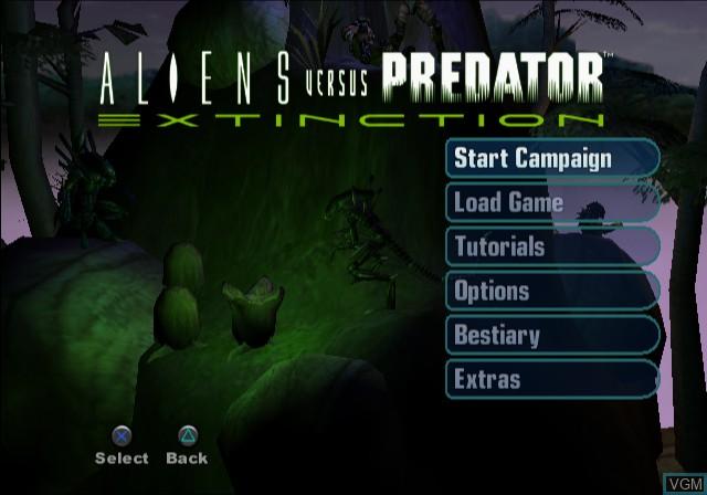 Image du menu du jeu Aliens Versus Predator - Extinction sur Sony Playstation 2