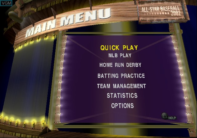 Image du menu du jeu All-Star Baseball 2002 sur Sony Playstation 2