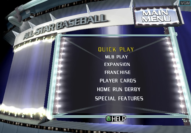 Image du menu du jeu All-Star Baseball 2003 sur Sony Playstation 2