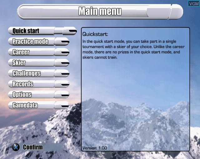 Image du menu du jeu Alpine Skiing 2005 sur Sony Playstation 2